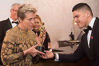 Frances McDormand, Oscar&reg; winner, stops at the engraving station at Governors Ball following the live ABC Telecast of The 90th Oscars&reg; at the Dolby&reg; Theatre in Hollywood, CA on Sunday, March 4, 2018.<br /> *Editorial Use Only*<br /> CAP/PLF/AMPAS<br /> Supplied by Capital Pictures