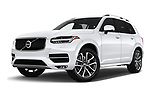 Stock pictures of low aggressive front three quarter view of a 2019 Volvo XC90 T5 Momentum AWD 5 Door SUV
