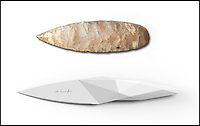 BNPS.co.uk (01202 558833)<br /> Pic: KlivissonCampelo/BNPS.<br /> <br /> Yabadabadoo - Paleolithic panache for the kitchen.<br /> <br /> Foodies wanting to release their inner caveman now have the perfect tool - A kitchen blade based around a 20,000 year old stone age knife.<br /> <br /> The designers have gone back to basics to craft a utensil that sits in the hand in an organic and natural way that harks back to the dawn of time.<br /> <br /> The Stone Age IP Knife has a handle designed to look like the primitive tools that prehistoric man would have carved from stone and used to cut up animal carcasses.