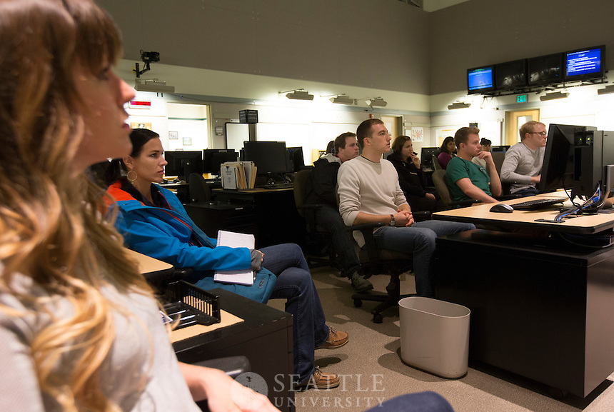 10042013- The Washington State Emergency Operations Center for natural disasters and other  emergencies located at Camp Murray. <br /> <br /> Seattle University law students getting a tour of the facility as a class field trip for their Disaster Law class taught by Clifford Villa.