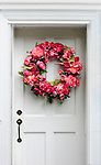 JimMendenhallPhotos.com 2013 July 9, 2013. Deborah Mendenhall's Peonie wreath on our white raised panel front door with antique wrought iron hardware.