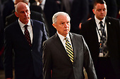 Attorney General of the United States Jeff Sessions walks as the casket of former Senator John McCain in the Capitol Rotunda lies in state at the U.S. Capitol, in Washington, DC on Friday, August 31, 2018. McCain, an Arizona Republican, presidential candidate and war hero died August 25th at the age of 81. He is the 31st person to lie in state at the Capitol in 166 years.    Photo by Kevin Dietsch/UPI