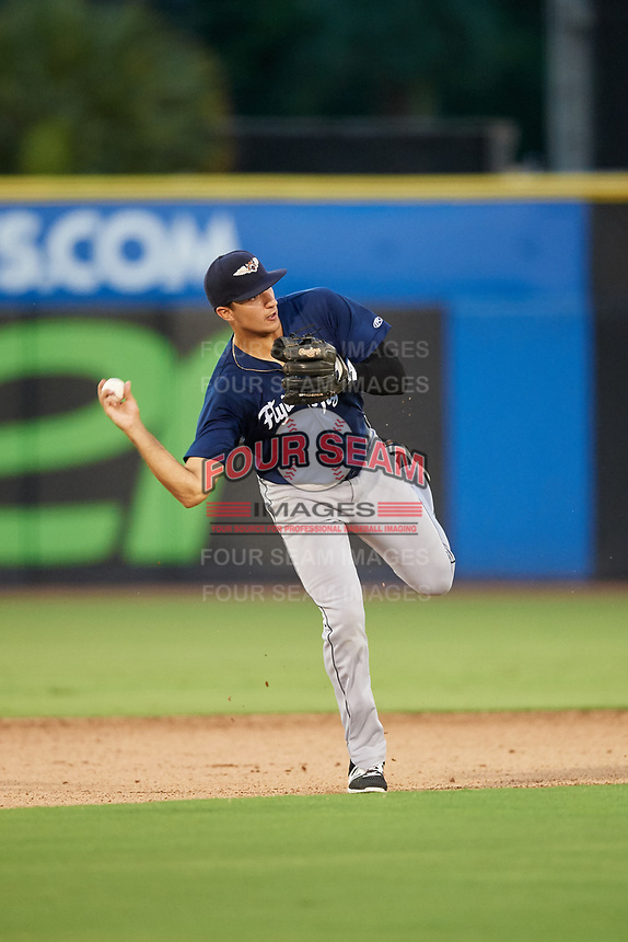 Lakeland Flying Tigers third baseman Danny Pinero (22) throws to first base during a game against the Dunedin Blue Jays on July 31, 2018 at Dunedin Stadium in Dunedin, Florida.  Dunedin defeated Lakeland 8-0.  (Mike Janes/Four Seam Images)