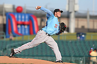Elliott Morris #31 of the Inland Empire 66ers pitches against the Lancaster JetHawks at The Hanger on May 26, 2014 in Lancaster, California. Lancaster defeated Inland Empire, 6-5. (Larry Goren/Four Seam Images)