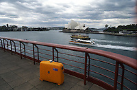 My Roncato suitcase in front of the Sydney Harbor, 1995.