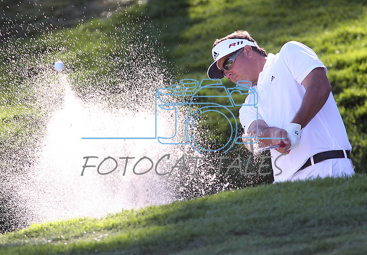 Pat Perez chips out of the sand on the 18th green at the Reno-Tahoe Open at the Montreux Golf & Country Club in Reno, Nev., on Sunday, Aug. 7, 2011. Perez ended up taking second place in the event. .Photo by Cathleen Allison