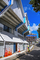 Renovation work on the RA Vance Stand during day two of the Plunket Shield cricket match between the Wellington Firebirds and Otago Volts at the Basin Reserve in Wellington, New Zealand on Tuesday, 22 October 2019. Photo: Dave Lintott / lintottphoto.co.nz