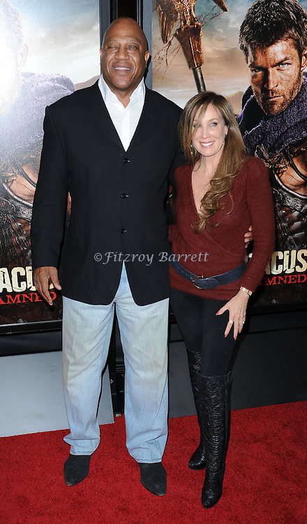 """Tiny Lister and date at the LA Premiere of """"Spartagus War Of The Damned"""" held at Regal Cinemas L.A. LIVE January 22, 2013"""