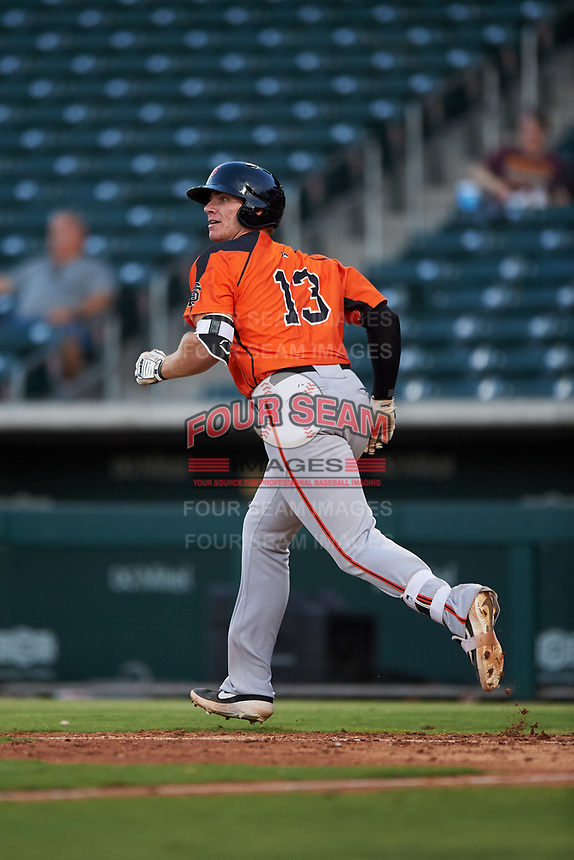 AZL Giants Orange Connor Cannon (13) starts running toward first base during an Arizona League game against the AZL Cubs 1 on July 10, 2019 at Sloan Park in Mesa, Arizona. The AZL Giants Orange defeated the AZL Cubs 1 13-8. (Zachary Lucy/Four Seam Images)
