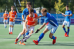UTRECHT - Florian Fuchs (Bldaal) in duel met Floris de Ridder (Kampong) (r) en achter Robbert Kemperman (Kampong)   tijdens de hoofdklasse competitiewedstrijd mannen, Kampong-Bloemendaal (2-2) . COPYRIGHT KOEN SUYK