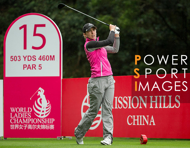 Sally WATSON of Scotland tees off at the 15th hole during Round 1 of the World Ladies Championship 2016 on 10 March 2016 at Mission Hills Olazabal Golf Course in Dongguan, China. Photo by Victor Fraile / Power Sport Images