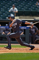 Ryan Peurifoy (6) of the Georgia Tech Yellow Jackets follows through on his swing against the Miami Hurricanes during game one of the 2017 ACC Baseball Championship at Louisville Slugger Field on May 23, 2017 in Louisville, Kentucky. The Hurricanes walked-off the Yellow Jackets 6-5 in 13 innings. (Brian Westerholt/Four Seam Images)