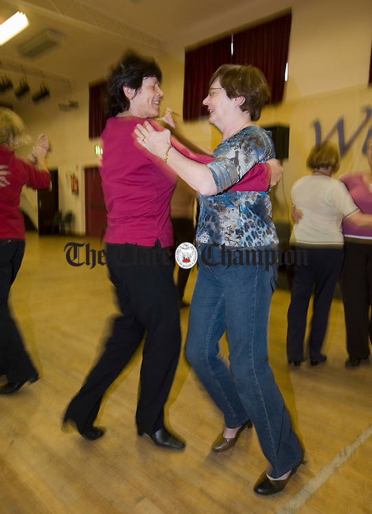 Mary Murrihy and Maria Mc Inerney stepping it out in Mary Clancy's Set dancing class as part of the Willie Keane Memorial Weekend at Doonbeg. Photograph by John Kelly.