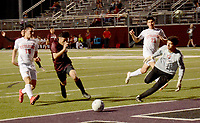 Graham Thomas/Siloam Sunday<br /> Siloam Springs forward Jose Posada drives into the box Wednesday night against Russellville at Panther Stadium. The Panthers defeated the Cyclones 1-1 (3-1 kicks from the mark) to sweep the season series from Russellville.