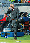 Solna 2014-06-01 Fotboll Landskamp , Sverige - Belgien :  <br /> Sveriges f&ouml;rbundskapten head coach Erik Hamr&eacute;n tar sig f&ouml;r huvudet och ser nedst&auml;md ut<br /> (Photo: Kenta J&ouml;nsson) Keywords:  Sweden Sverige Friends Arena Belgium Belgien depp besviken besvikelse sorg ledsen deppig nedst&auml;md uppgiven sad disappointment disappointed dejected portr&auml;tt portrait