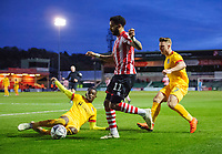 Lincoln City's Bruno Andrade is tackled by Northampton Town's Hakeem Odoffin<br /> <br /> Photographer Chris Vaughan/CameraSport<br /> <br /> Emirates FA Cup First Round - Lincoln City v Northampton Town - Saturday 10th November 2018 - Sincil Bank - Lincoln<br />  <br /> World Copyright © 2018 CameraSport. All rights reserved. 43 Linden Ave. Countesthorpe. Leicester. England. LE8 5PG - Tel: +44 (0) 116 277 4147 - admin@camerasport.com - www.camerasport.com