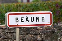 road sign beaune cote de beaune burgundy france
