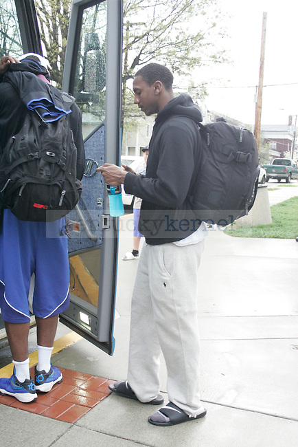 UK point guard Marquis Teague gets on the bus to leave for New Orleans for the Final Four game in Lexington, Ky. on March 28, 2012. Photo by Quianna Lige | Staff