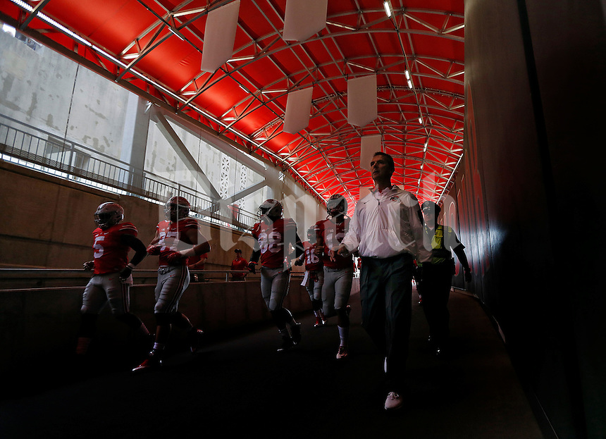Ohio State Buckeyes head coach Urban Meyer and the Buckeyes come down the Hazelwood Family Tunnel before their game against Western Michigan Broncos at Ohio Stadium on September 26, 2015.  (Dispatch photo by Kyle Robertson)