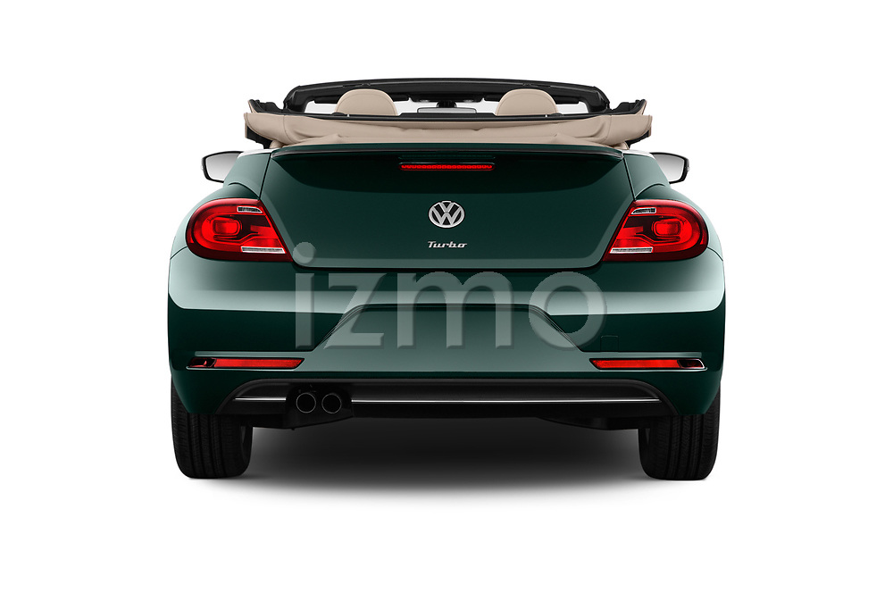 Straight rear view of 2018 Volkswagen Beetle 1.8T-Dune-Conv.-auto 2 Door Convertible Rear View  stock images