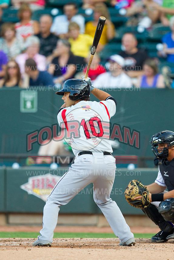 Alex Lavisky (10) of the Carolina Mudcats at bat against the Winston-Salem Dash at BB&T Ballpark on July 25, 2013 in Winston-Salem, North Carolina.  The Mudcats defeated the Dash 5-4.  (Brian Westerholt/Four Seam Images)
