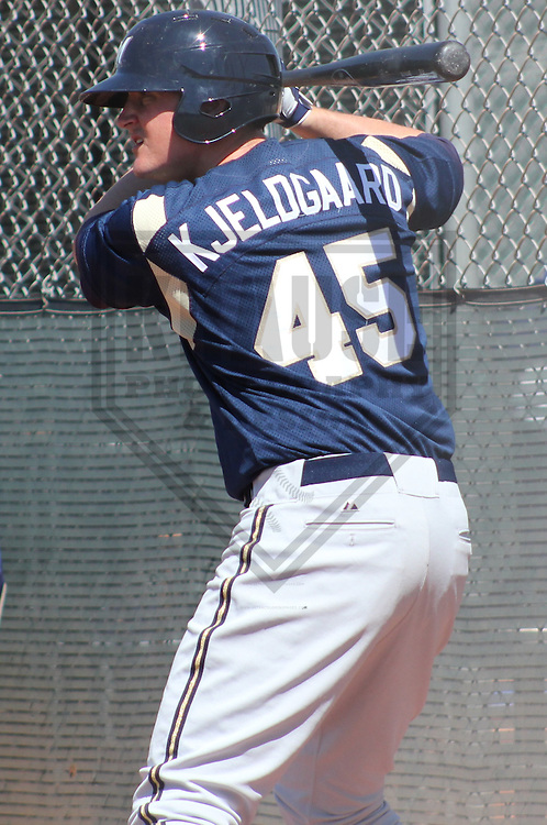 MARYVALE - March 2012: Brock Kjeldgaard  of the Milwaukee Brewers during a Spring Training game against the Cincinnati Reds on March 21, 2012 at Maryvale Baseball Park in Maryvale, Arizona. (Photo by Brad Krause).