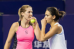 Raluca Olaru of Romania (R) and Olga Savchuk of Ukraine (L) talk during the doubles Round Robin match of the WTA Elite Trophy Zhuhai 2017 against Ying-Ying Duan and Xinyun Han of China at Hengqin Tennis Center on November  02, 2017 in Zhuhai, China.Photo by Yu Chun Christopher Wong / Power Sport Images