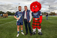 Rory Jennings of London Scottish receives the man of the match award afterthe Greene King IPA Championship match between London Scottish Football Club and Ealing Trailfinders at Richmond Athletic Ground, Richmond, United Kingdom on 8 September 2018. Photo by David Horn.