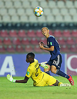 2nd November 2019; Kleber Andrade Stadium, Cariacica, Espirito Santo, Brazil; FIFA U-17 World Cup Brazil 2019, Senegal versus Japan; Goalkeeper Pape Dione of Senegal saves the shot from Shoji Toyama of Japan