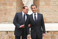 SILVIO BERLUSCONI AND NICOLAS SARKOZY.Roma 26/04/2011 Vertice Italo-Francese a Villa Madama. Italian-French Summit..Photo Samantha Zucchi Insidefoto