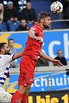 10.04.2019, Schauinsland-Reisen-Arena, Duisburg, GER, 2. FBL, MSV Duisburg vs. 1. FC Koeln,<br />  <br /> DFL regulations prohibit any use of photographs as image sequences and/or quasi-video<br /> <br /> im Bild / picture shows: <br /> Kopfball durch  Florian Kainz (FC Koeln #30), <br /> <br /> Foto &copy; nordphoto / Meuter