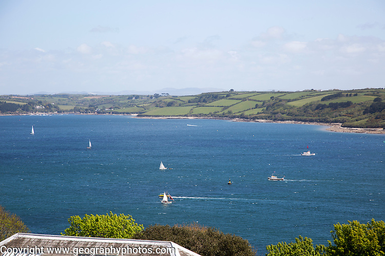 Sailing boats in River Fal estuary from Pendennis castle, Falmouth, Cornwall, England, UK