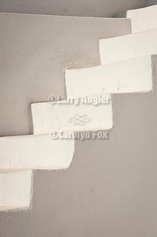 Steps, white wall, Oia, Santorini, Greece