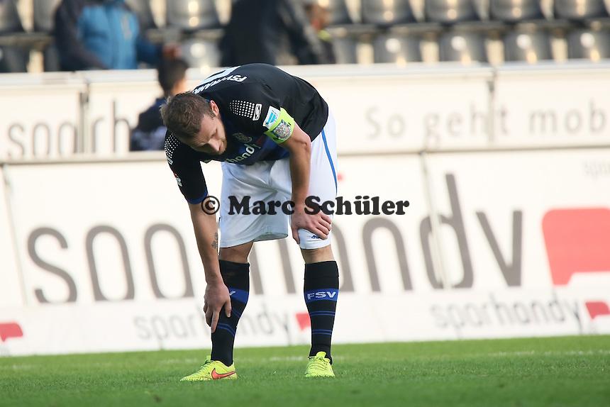 Enttäuschung bei Manuel Konrad (FSV) nach dem 1:1 - FSV Frankfurt vs. FC Erzgebirge Aue, Frankfurter Volksbank Stadion