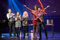"""The actors Dominik Hees (L-R) and Jeannine Wacker, singer Cyndi Lauper, the performers J. Harrison Ghee und Gino Emnes stand on stage of the Operettenhaus during a press showing of the musical """"Kinky Boots"""" in Hamburg, Germany, 28. September 2017. The Germany premiere will be on the 3rd of December. Photo: Georg Wendt/dpa /MediaPunch ***FOR USA ONLY***"""