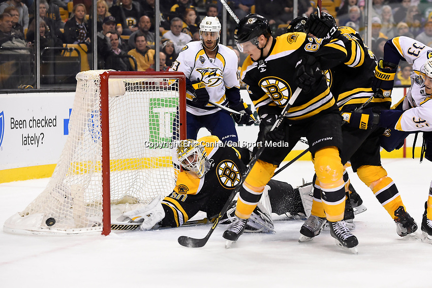 Monday, December 7, 2015: Boston Bruins goalie Jonas Gustavsson (50) makes a save during the National Hockey League game between the Nashville Predators and the Boston Bruins held at TD Garden, in Boston, Massachusetts. The Predators defeat the Bruins 3-2 in regulation time. Eric Canha/CSM