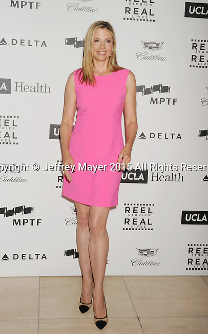 HOLLYWOOD, CA - APRIL 25: Actress Mira Sorvino arrives at the 4th Annual Reel Stories, Real Lives event benefiting the Motion Picture & Television Fund at Milk Studios on April 25, 2015 in Hollywood, California.