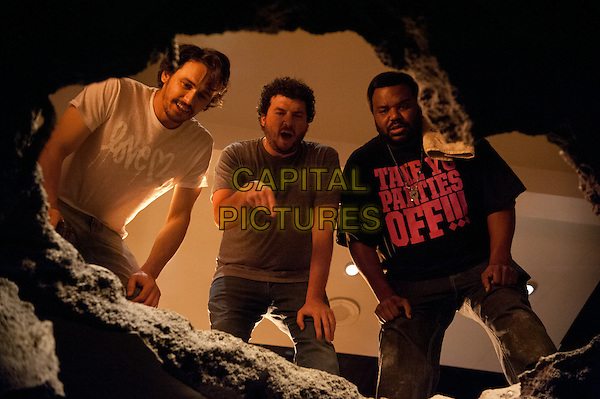 Craig Robinson, Danny McBride, James Franco<br /> in This Is the End (2013) <br /> *Filmstill - Editorial Use Only*<br /> CAP/NFS<br /> Image supplied by Capital Pictures