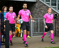 20191211- Ostend: Swedish referees pictured with Mohammed Al-Hakim (middle) , Max Robin Wilde and Andreas Soderqvist entering the pitch at the start of the UEFA Youth League Group A football match between Club Brugge and Real Madrid on Wednesday 11th December 2019 at Versluys Arena, Ostend, Belgium. PHOTO: SEVIL OKTEM | Sportpix.be