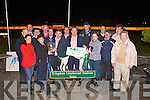PRESENTATION: Catherine Murphy owner of Dromore Dazzler winner of the Mike Cronin Readymix Juvenile Classic Final being presented with the winner trophy by Mike Cronin at the Kingdom Greyhound Stadium on Friday l-r: Dick O'Sullivan (Chairman IGB), Susan McCarthy, Declan Dowling (General Manager KGS), John and Catherine Murphy, Steve Kennedy, Mort Hogan, Mike Cronin, Declan and Denis Murphy, Jim Morrissey (Trainer), Ann-Marie Murphy, Kieran Casey (KGS), Liam Kelly, Tom Murphy and Noel Brown.