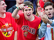 College Park, MD - OCT 1, 2016: Maryland Terrapins fans are excited following a big touchdown run during game between Maryland and Purdue at Capital One Field at Maryland Stadium in College Park, MD. The Terps got the win 50-7 over visiting Purdue. (Photo by Phil Peters/Media Images International)