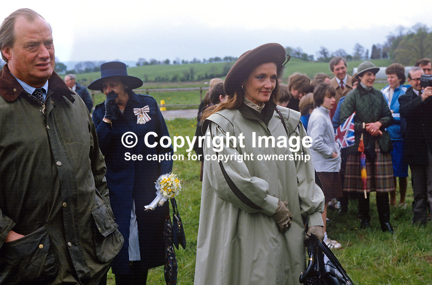 Leonora Anson, Countess of Lichfield,  neé Grosvenor, wife of society photographer, Lord Lichfield, at a Riding for the Disabled event in Co Fermanagh attended by the Princess Royal, Princess Anne, during a royal visit to N Ireland, May 1985. 19850503LL4..Copyright Image from Victor Patterson, 54 Dorchester Park, Belfast, UK, BT9 6RJ..Tel: +44 28 9066 1296.Mob: +44 7802 353836.Voicemail +44 20 8816 7153.Skype: victorpattersonbelfast.Email: victorpatterson@me.com.Email: victorpatterson@ireland.com (back-up)..IMPORTANT: If you wish to use this image or any other of my images please go to www.victorpatterson.com and click on the Terms & Conditions. Then contact me by email or phone with the reference number(s) of the image(s) concerned.