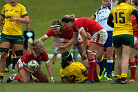 Karen Paquin (head tape) and Kelly Russell congratulate Emily Belchos on her try during the 2017 International Women's Rugby Series rugby match between Canada and Australia Wallaroos at Smallbone Park in Rotorua, New Zealand on Saturday, 17 June 2017. Photo: Dave Lintott / lintottphoto.co.nz