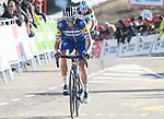 Enric Mas (ESP) Deceuninck–Quick-Step crosses the finish line at the end of Stage 4 of the Volta Ciclista a Catalunya 2019 running 150.3km from Llanars (Vall De Camprodon) to La Molina (Alp), Spain. 28th March 2019.<br /> Picture: Colin Flockton | Cyclefile<br /> <br /> <br /> All photos usage must carry mandatory copyright credit (© Cyclefile | Colin Flockton)