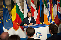 Rome, Italy, March 25,2017. European Council President Donald Tusk  signs a declaration during an EU summit meeting at the Orazi and Curiazi Hall in the Palazzo dei Conservatori in Rome. European Union leaders were gathering in Rome to mark the 60th anniversary of their founding treaty and chart a way ahead following the decision of Britain to leave the 28-nation bloc.