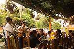 Mariachi's entertaining restaurant customers, Acapulco, Mexico