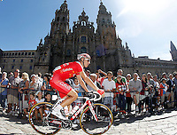 Florent Barle passes by the front of the Obradoiro of the Cathedral of Santiago de Compostela before the stage of La Vuelta 2012 between Santiago de Compostela and Ferrol.August 31,2012. (ALTERPHOTOS/Acero)