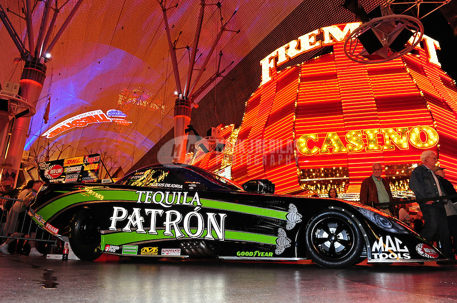 Oct. 27, 2011; Las Vegas, NV, USA: The car of NHRA funny car driver Alexis DeJoria on display during the fanfest at Fremont Street. Mandatory Credit: Mark J. Rebilas-US PRESSWIRE