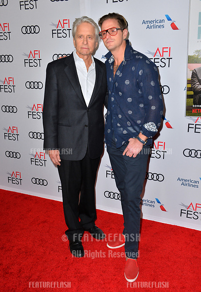 """LOS ANGELES, CA. November 10, 2018: Michael Douglas & Cameron Douglas at the AFI Fest 2018 world premiere of """"The Kominsky Method"""" at the TCL Chinese Theatre.<br /> Picture: Paul Smith/Featureflash"""
