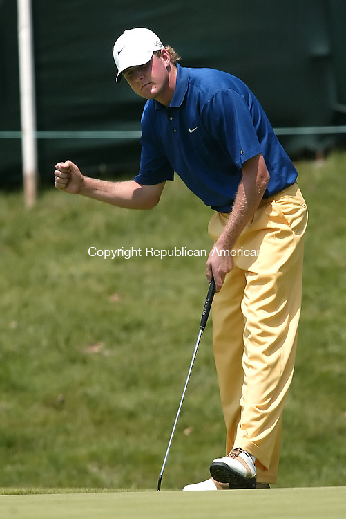 CROMWELL, CT 30 JUNE 2006 063006BZ15- D.J. Trahan reacts after making par on the 17th <br /> during the second round of the 2006 Buick Championship at TPC River Highlands in Cromwell Wednesday. <br /> Jamison C. Bazinet Republican-American